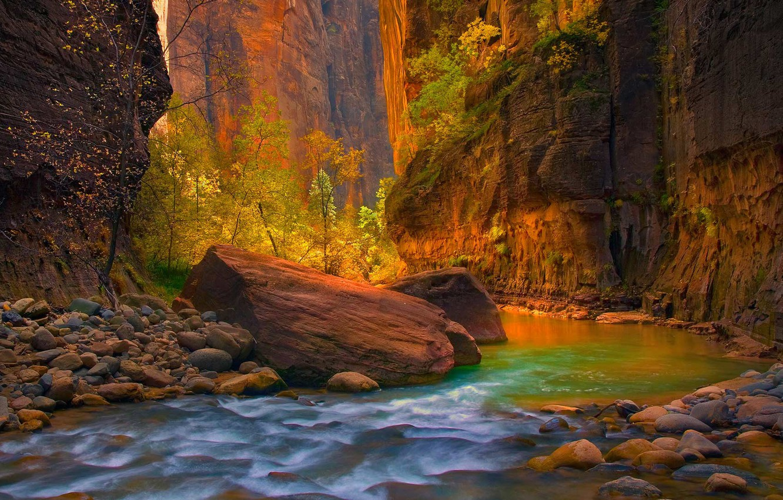 Обои Zion national park, сша, ручей, водопад, юта, скалы. Природа foto 17