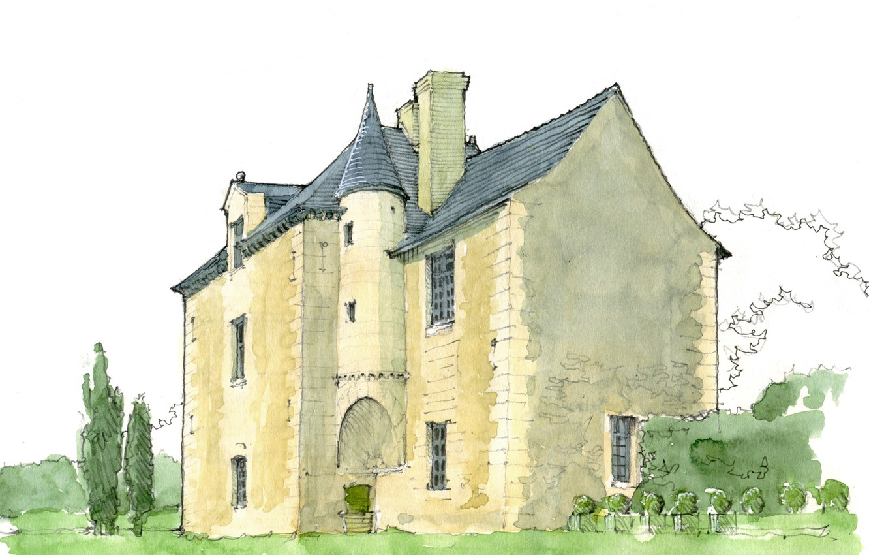 Фото обои дом, рисунок, Франция, акварель, Пуату-Шаранта, Вьенна