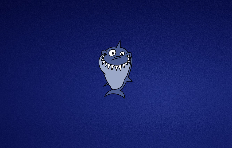 Фото обои синий, улыбка, минимализм, акула, shark, зубастая