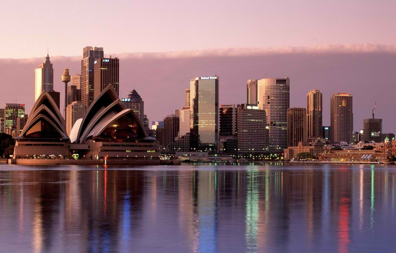 Фото обои небо, вода, город, Австралия, Сидней