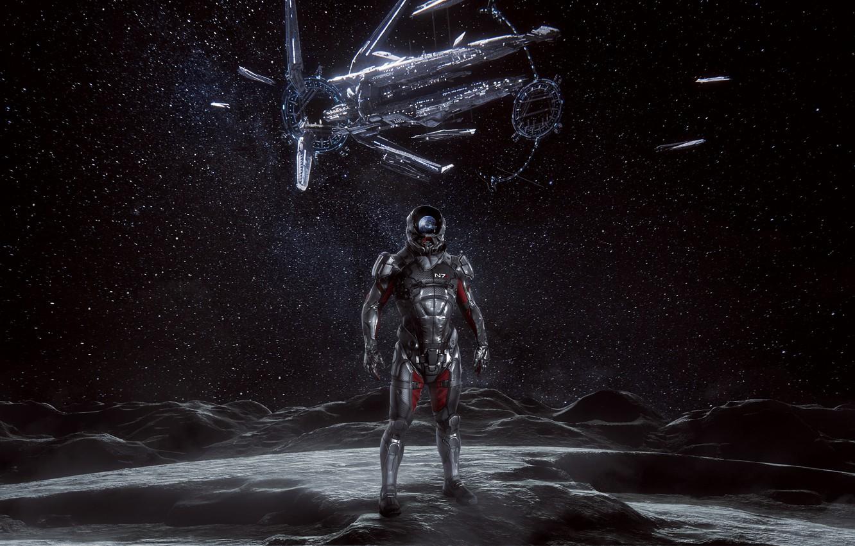 Фото обои moon, Andromeda, Mass Effect, hyperion, ryder, n7