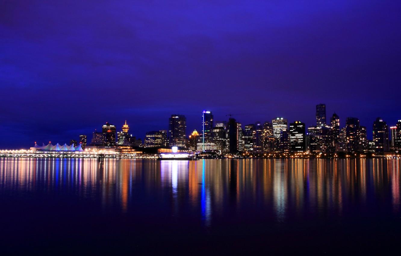 Фото обои ночь, lights, огни, отражение, река, небоскребы, подсветка, Канада, Ванкувер, Canada, British Columbia, river, reflection, Vancouver, …