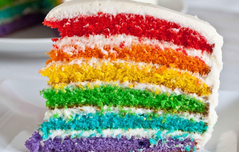 Фото обои праздник, цвет, радуга, торт, cake, глазурь, слой
