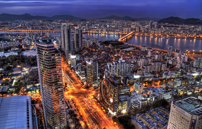 Фото обои небо, огни, небоскребы, вечер, подсветка, синее, South Korea, Сеул, столица, capital, Seoul, Южная Корея
