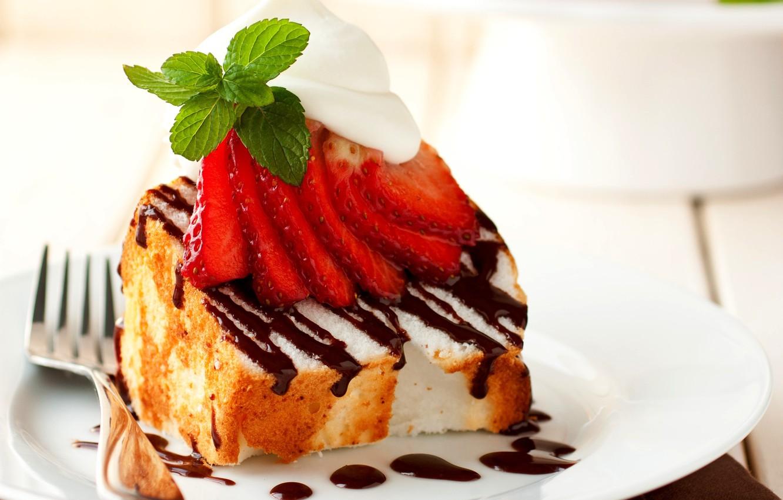Фото обои ягоды, еда, шоколад, клубника, торт, пирожное, cake, мята, крем, десерт, food, сладкое, chocolate, dessert, mint, …
