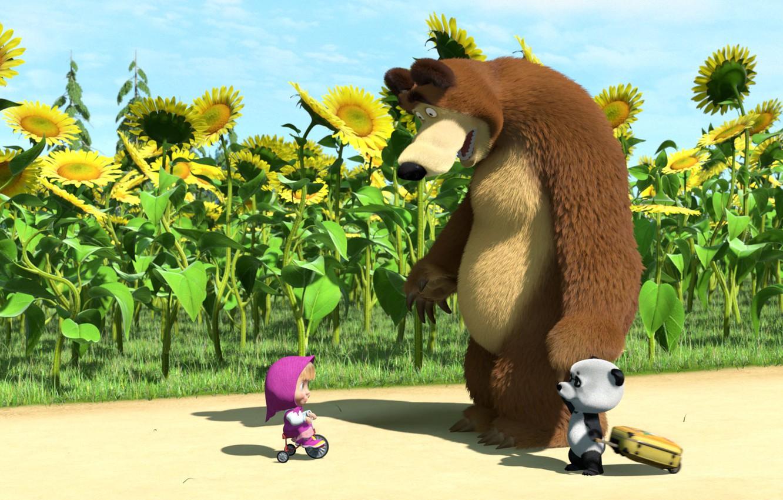 Фото обои подсолнухи, велосипед, мишка, панда, маша, Маша и медведь, Мультсериал