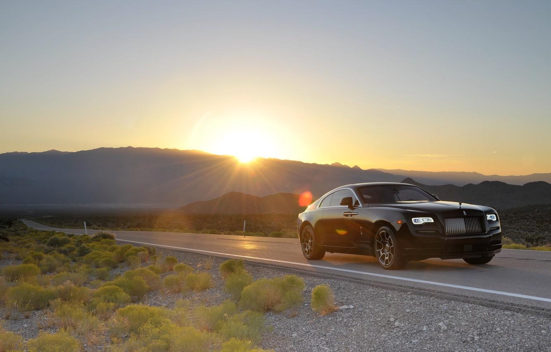 Фото обои дорога, car, машина, солнце, Rolls-Royce, light, auto, sun, Wraith, Black Badge