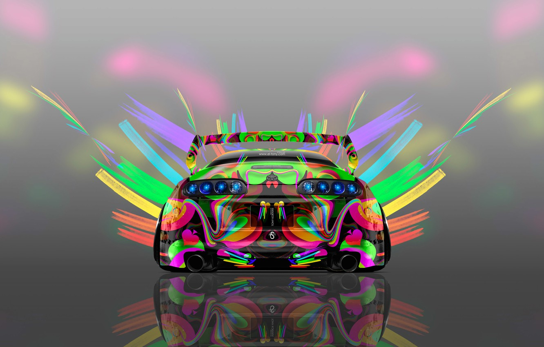 Фото обои Авто, Дизайн, Неон, Машина, Яркая, Стиль, Серый, Обои, Фон, Toyota, Арт, Art, Абстракт, Photoshop, Фотошоп, ...