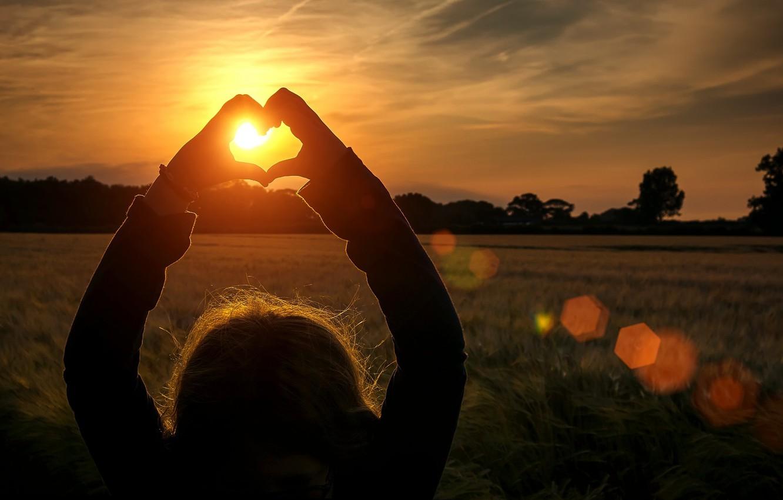 Фото обои поле, девушка, солнце, лучи, деревья, любовь, закат, фон, widescreen, обои, настроения, сердце, руки, колоски, wallpaper, …