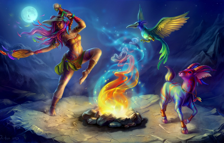 Фото обои девушка, ночь, луна, танец, маска, костер, арт, существа, шаман, дикарка, птицпа