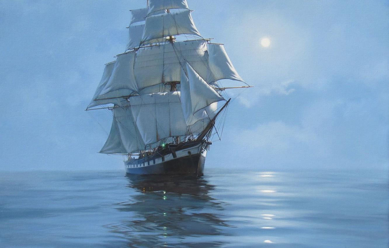 Фото обои море, корабль, парусник, картина, живопись, James Brereton