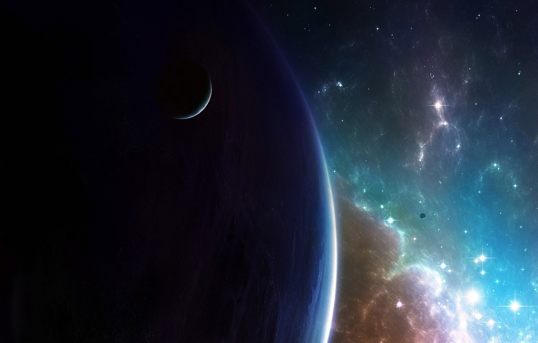 Фото обои спутник, Галактика, Звезды, Планета