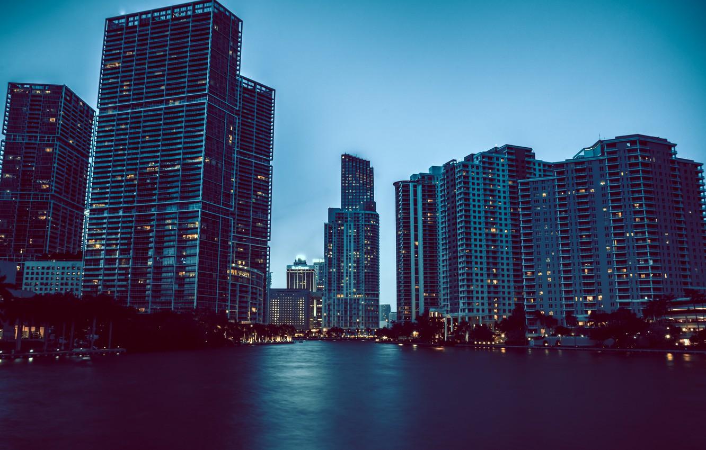 Фото обои вода, огни, дома, Майами, небоскребы, вечер, Флорида, Miami, florida