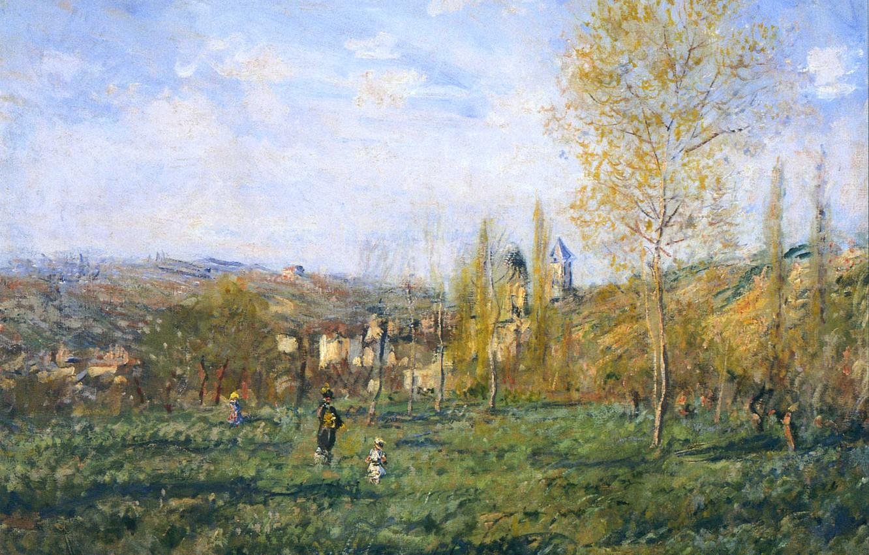 Фото обои трава, деревья, пейзаж, холмы, картина, луг, Клод Моне