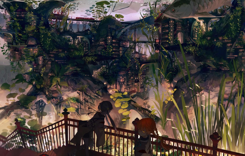 Фото обои город, девушки, дома, рыба, аниме, арт, kukka