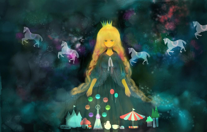 Фото обои животные, девушка, аниме, корона, лошади, арт, колесо обозрения, аттракционы, карусель