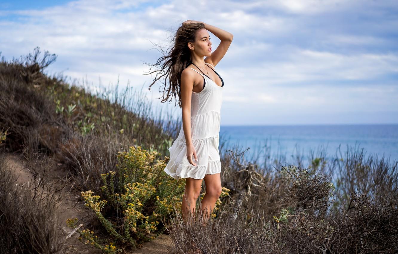 Фото обои море, лето, девушка