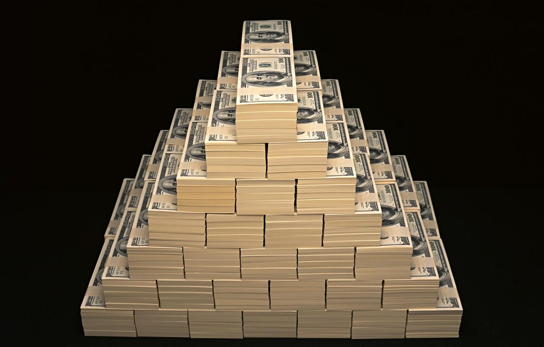 Фото обои деньги, пирамида, доллары, баксы