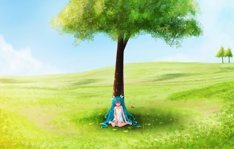 Фото обои поле, лето, дерево, девочка