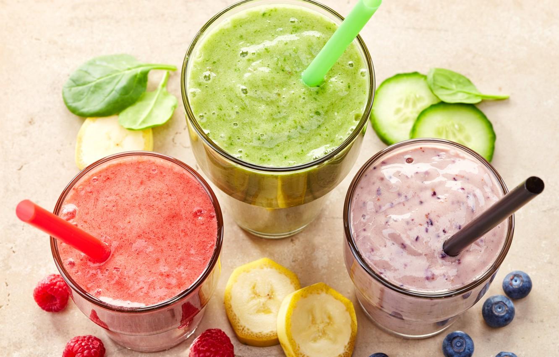 Фото обои ягоды, коктейль, фрукты, банан, fresh, fruit, berries, smoothie, смузи