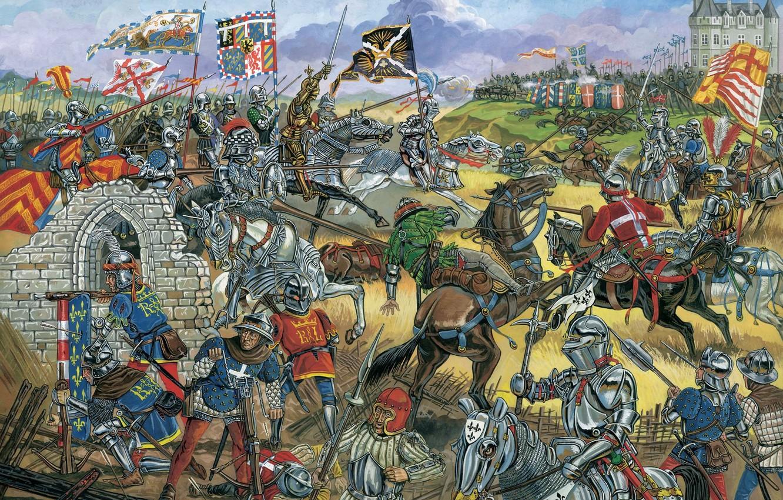 Фото обои дым, рисунок, доспехи, солдаты, мечи, выстрелы, армии, копья, артиллерия, знамёна, кавалерия, лучники, француская, вымпелы, бургундская, …