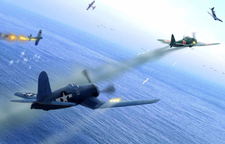 Обои war, painting, aviation, ww2, aircraft, air combat, P 47 thunderbolt, drawing, dogfight. Авиация foto 16