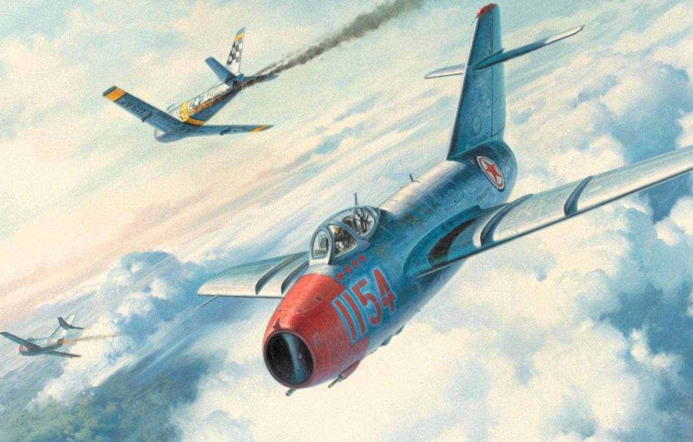Обои painting, ww2, jet, Airplane, aviation, North american f-86d sabre, war, jet. Авиация foto 18