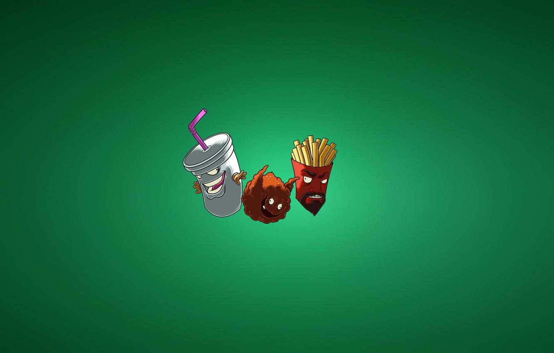 Фото обои минимализм, Aqua Teen Hunger Force, Тефтель, Frylock, картошка фри, Meatwad, ATHF, Master Shake, молочный коктейль
