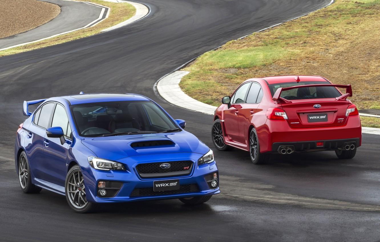 Фото обои синий, красный, фон, Subaru, Impreza, WRX, вид сзади, STI, Импреза, передок, Судабу