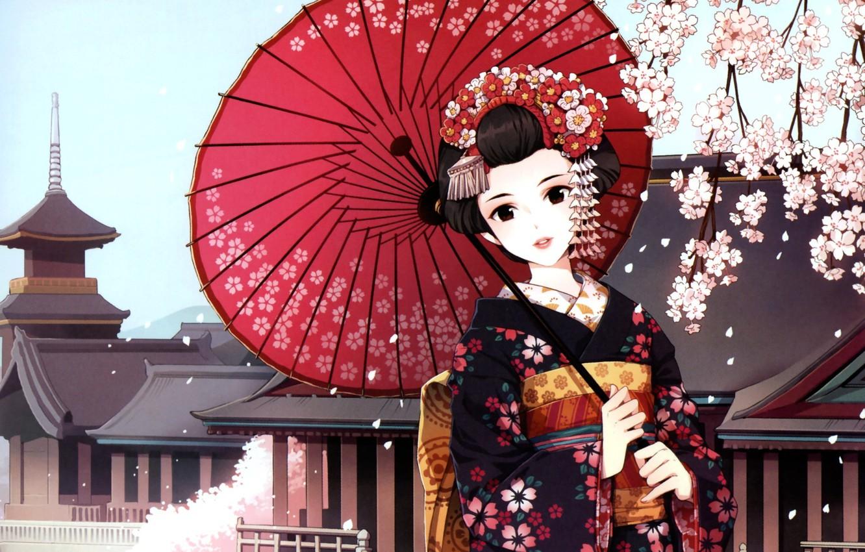 Фото обои девушка, зонт, сакура, арт, гейша, кимоно, nardack