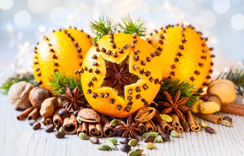 Фото обои апельсин, орехи, корица, гвоздика, декор, бадьян