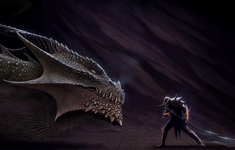 Фото обои дракон, меч, голова, воин, арт, ящер, рога, шлем, мужчина