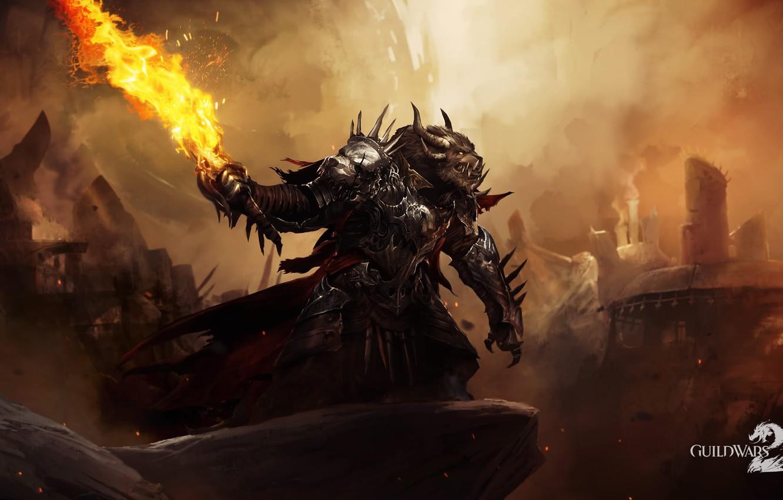 Фото обои огонь, монстр, меч, guild wars 2