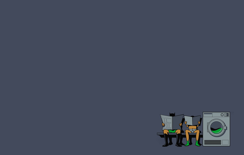 Фото обои вещи, газета, трусы, ожидание, Batman, Robin, стирка, прачечная