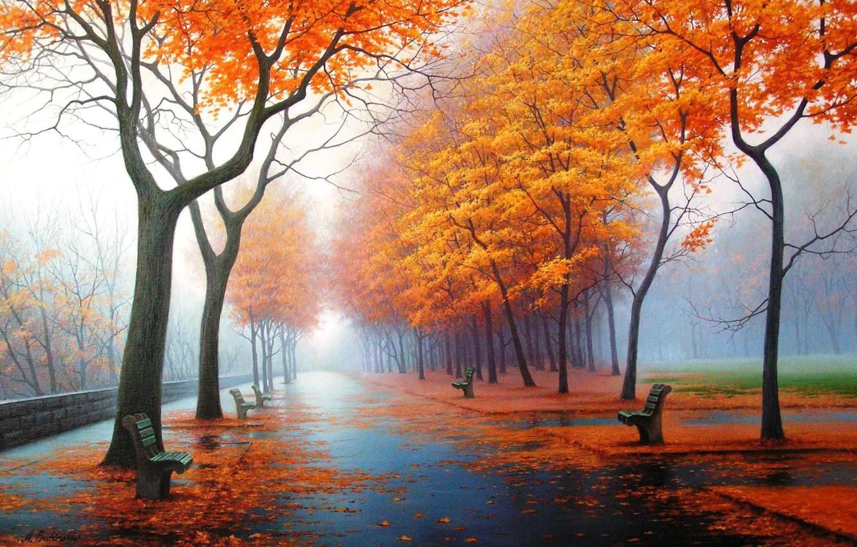 Фото обои осень, природа, парк, рисунок, картина, арт, рисунки, картины