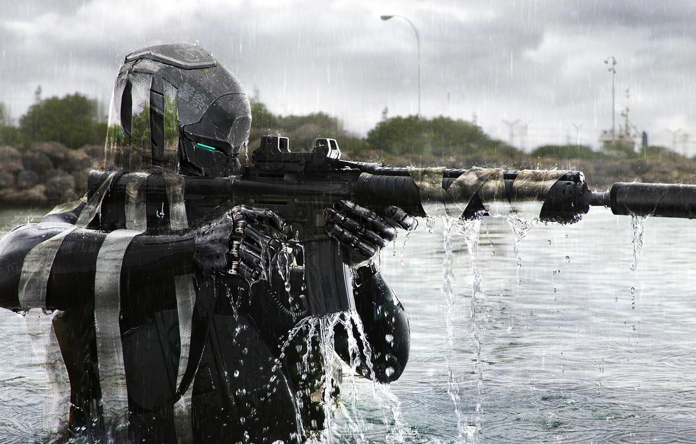 Обои амуниция, солдат, киборг, Фантастика, автомат. Фантастика foto 16
