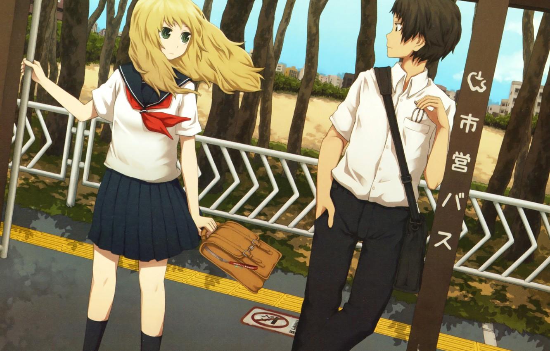 Фото обои девушка, аниме, арт, форма, парень, школьники, chanoma, yajirushi
