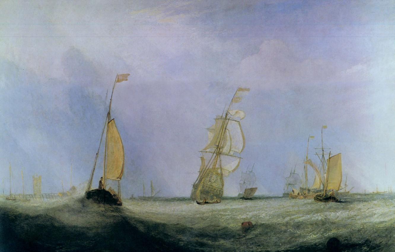 Фото обои море, волны, корабли, картина, парус, морской пейзаж, Уильям Тёрнер, Going to Sea, The City of …