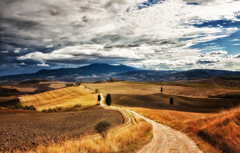 Фото обои поле, небо, облака, деревья, холмы, Италия, синее, тропинка, Тоскана