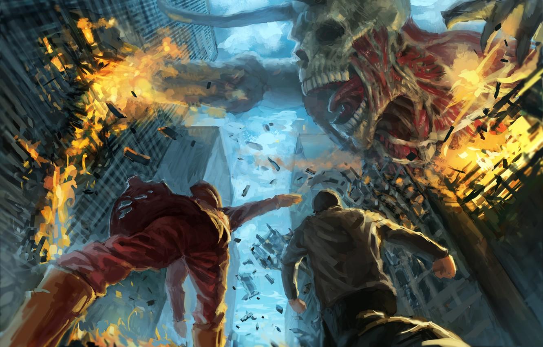 Фото обои город, фантастика, огонь, арт, пасть, скелет, разрушение, гигант, мышцы