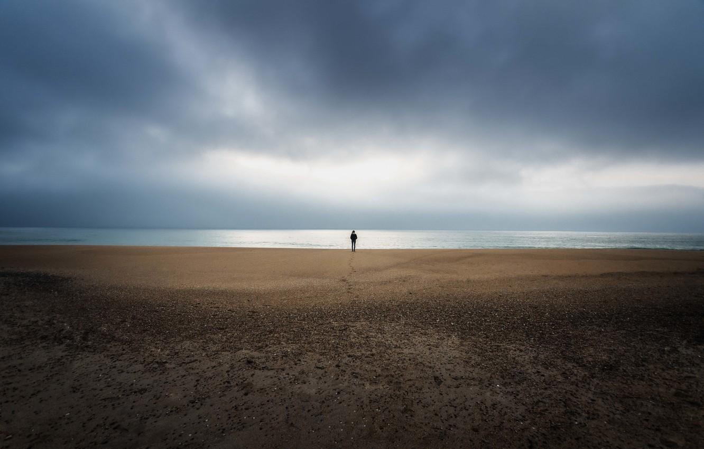 Обои Облака, одна, буря, clouds, Alone, storm, beach, horizon. Настроения foto 18