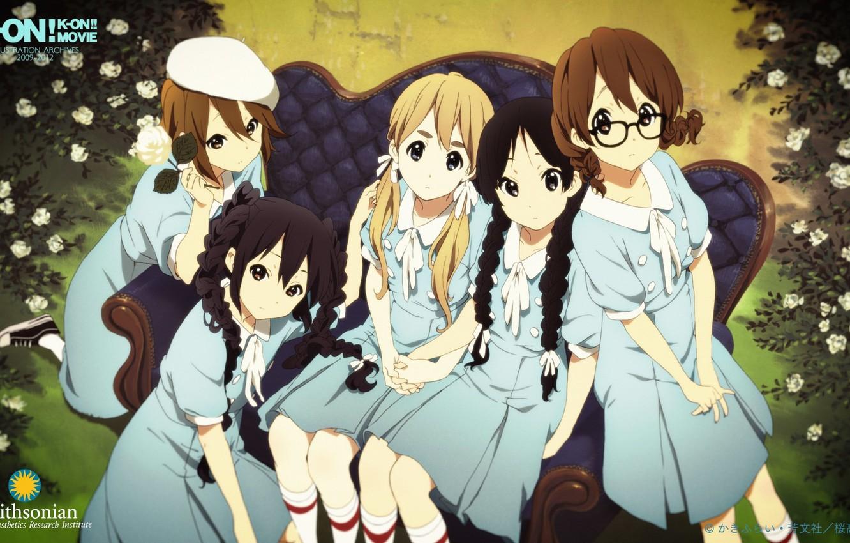 Фото обои синий, природа, диван, голубой, розы, очки, школьницы, друзья, K-on, Mio Akiyama, Azusa Nakano, Tsumugi Kotobuki, …