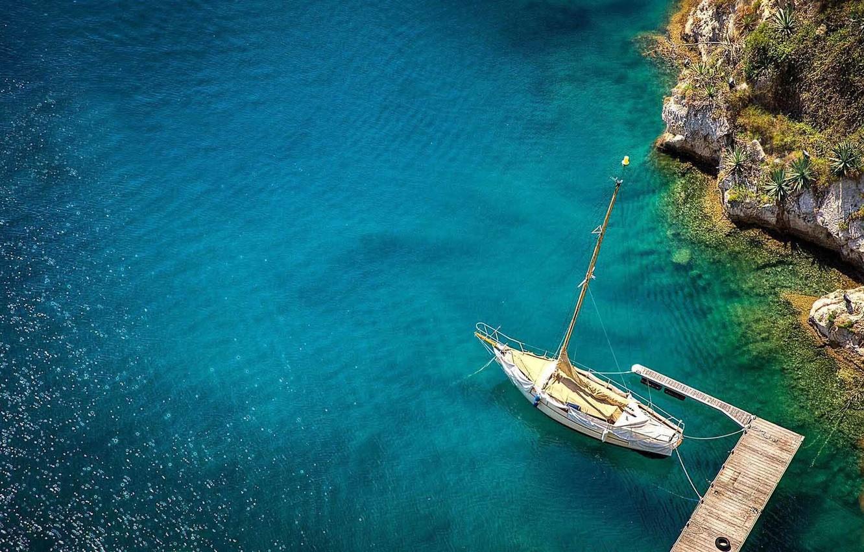 Фото обои океан, лодка, яхта, sea, ocean, boat