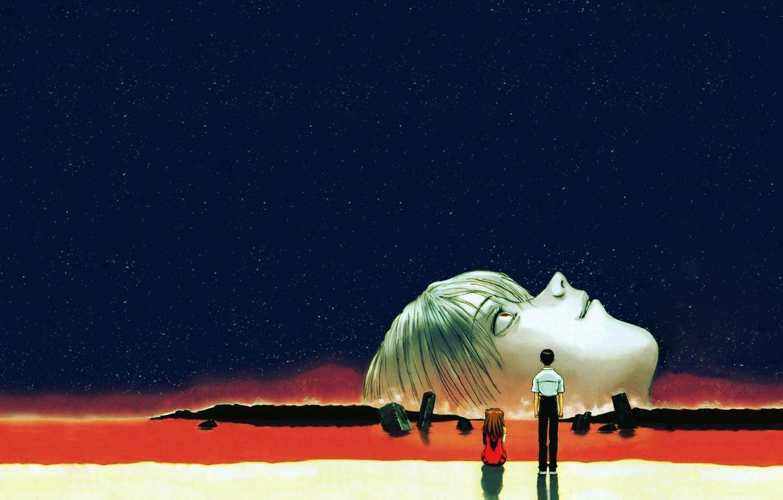 Фото обои Звезды, евангелион, Ayanami Rei, Evangelion, Asuka Langley, Ночное небо, Ikari Shinji, The end of Evangelion