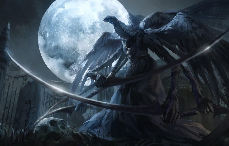 Фото обои ночь, оружие, луна, арт, коса, чудовище, bloodborne, jlien-, mergos wet nurse
