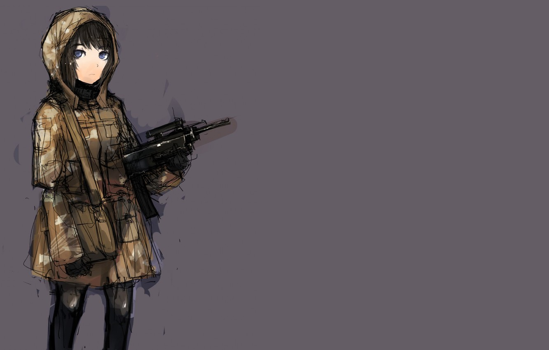 Фото обои минимализм, аниме, штрихи, автомат, девочка