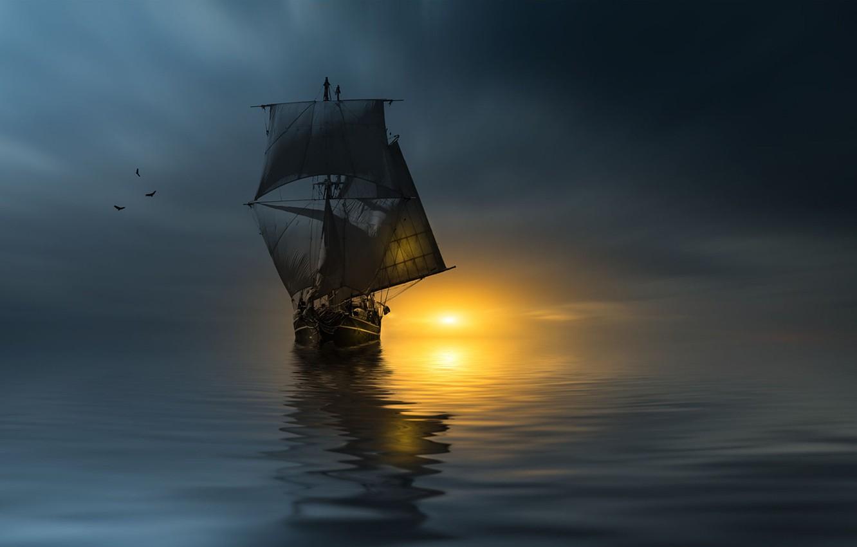 Фото обои закат, птицы, океан, корабль, паруса, photographer, Christian Wig
