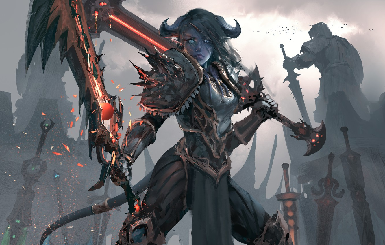 Фото обои девушка, оружие, меч, доспехи, воин, арт, хвост, рога, world of warcraft, wlop