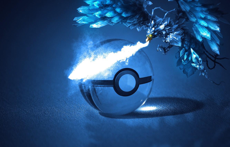 Фото обои холод, лед, холодный, покемон, pokemon, pokeball, ледяной, покебол, артикуно, articuno