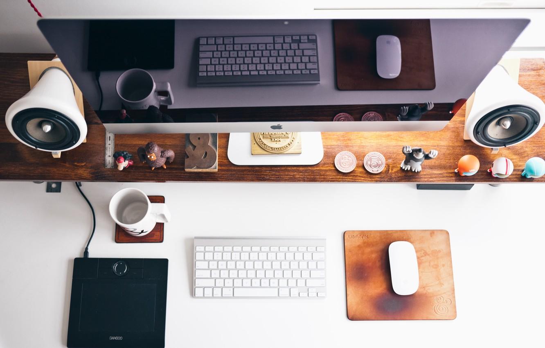 Фото обои стиль, стол, место, apple, мышка, колонки, динамик, клавиатура, монитор, вид сверху, обстановка